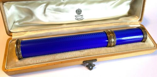A FABERGE IMPERIAL RUSSIAN SILVER & GUILLOCHÉ ENAMEL CIGAR HOLDER 1908-1917