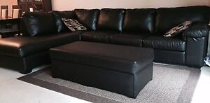 MOVING SALE! Leather Couch Sectional With Matching Ottoman