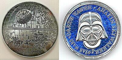3D Death Star Wars Moon Silver Coin Darth Vader Sci Fi Films Rise of Skywalker