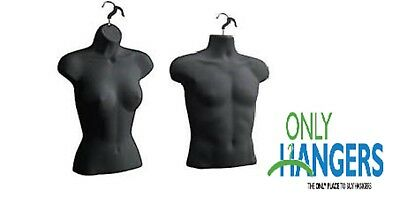 Torso Female Male Body Mannequin Forms Set Waist Long For S-m Sizes - Black