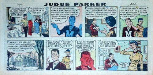 Judge Parker by Dan Heilman - lot of 2 color Sunday comic pages - 1957 & 1962