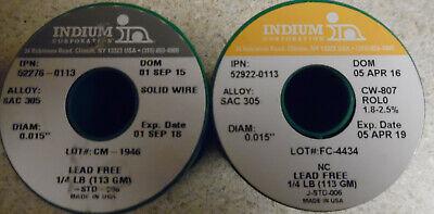 Indium Solder Lead Free Sac305 0.015 1.8-2.5 12lb Two Spools - 52276-0113