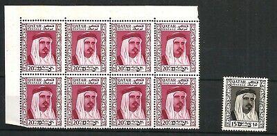 Qatar SCARCE 1966 surcharged 20d on 20n.p in top left marginal UM block of 8 plu