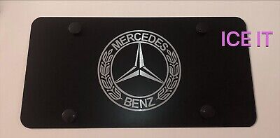 Mercedes Benz AMG Stainless Steel Black License Plate Frame Heavy Duty W/ Caps