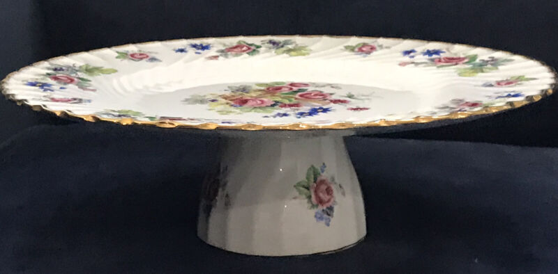 Vintage Royal Crown Staffordshire England Floral Cake Stand / Plate Great Condt