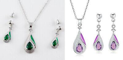 Schmuck Set Raute Kristall und Strass Anhänger Halskette und Ohrringe Silber