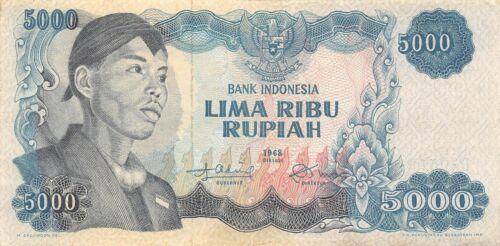 Indonesia  5000  Rupiah  1968  P 111a  Series  DA  Circulated Banknote