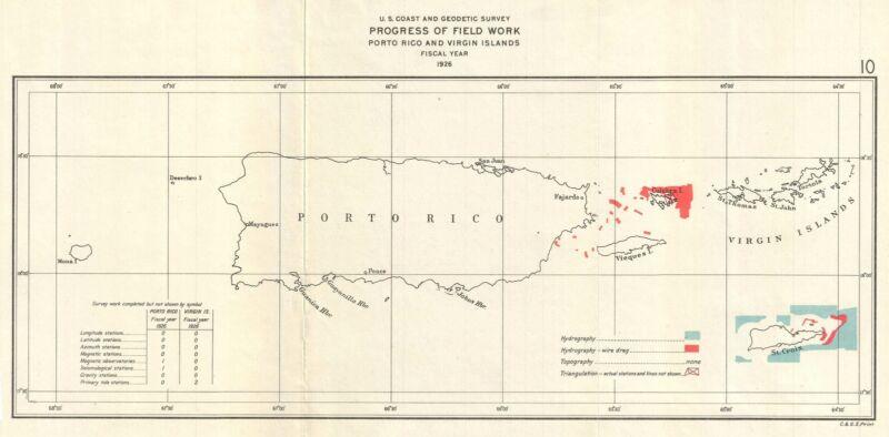 1926 U.S. Coast Survey Map of Puerto Rico w/ Virgin Islands