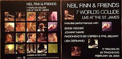Neil Finn (Crowded House) 7 Worlds Collide Live '02 RARE promo 12x12 poster flat