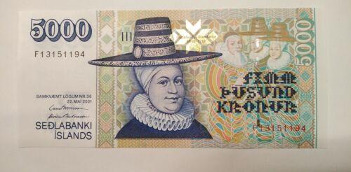 Iceland Island 5000 kronur krona 2001 UNC