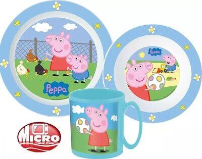PEPPA PIG 3 TEILIGES KINDER BABY GESCHIRR-SET PEPPA WUTZ FRÜHSTÜCKSET MIT TASSE