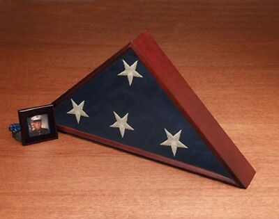 Mahogany Wood Triangle Flag Case Box for Veteran Memorial Funeral Burial 27x13x3
