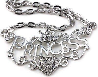 Crown Princess Tiara Heart Choker Necklace Clear Crystal Silver Tone Kid Pendant