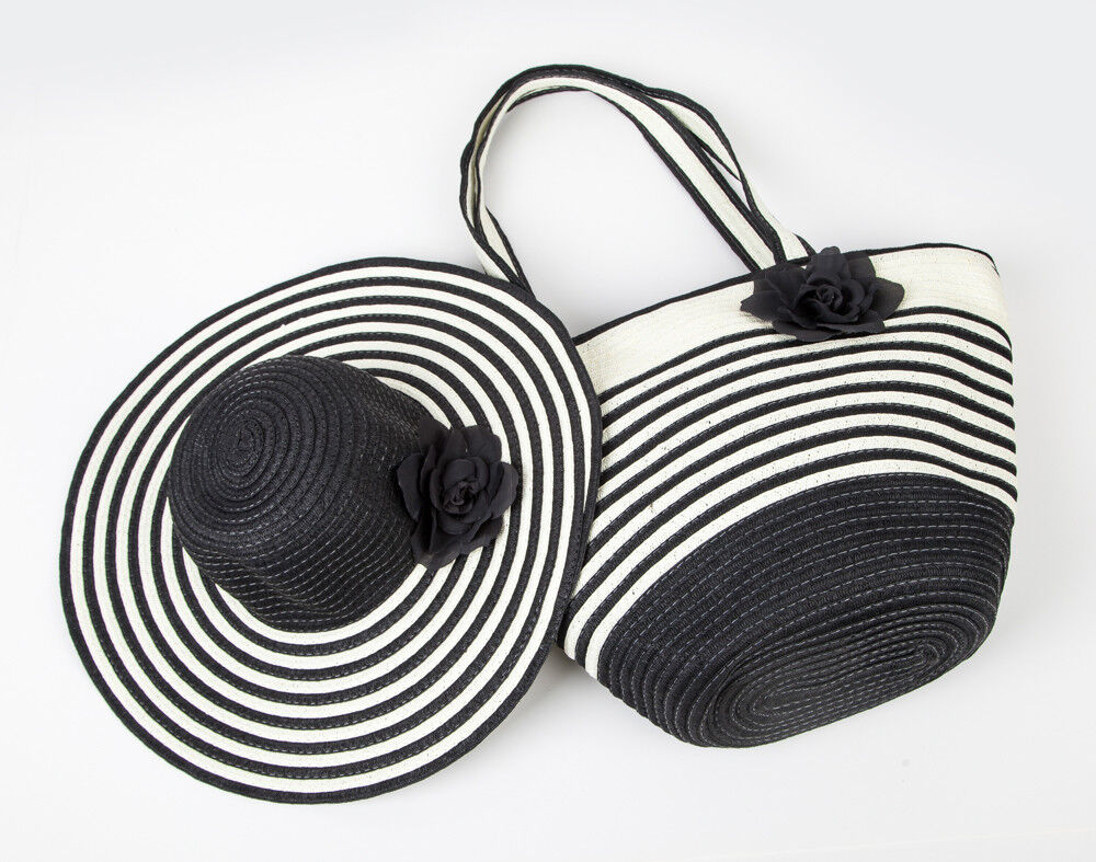 Women's Summer Floppy Straw Sun Hat and Beach Tote Bag Set &