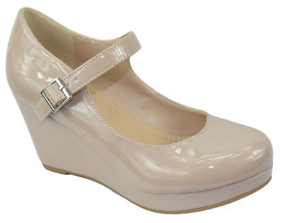 CityClassified Women Mary Jane Ankle Strap Wedge Platform Pump Beige Patent 8 US Ankle Strap Mary Jane Pump