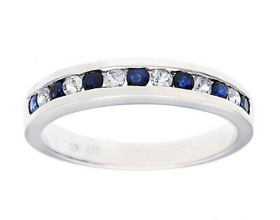 White Gold 1/2ct Genuine Sapphire Anniversary Wedding Band Ring ()