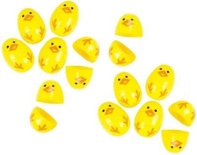 36 Yellow Chick Hinged Plastic Eggs - Easter Baskets Egg Hunt Chic Cupcake Top - Plastic Easter Egg