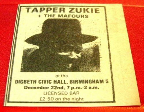 "Tapper Zukie Birmingham Gig Vintage ORIG 1978 Press/Magazine ADVERT 2""x 2""Reggae"