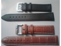 Set of 2x20mm New Genuine Leather Croc Grain/Plain Wristwatch Straps in Tan & Black.