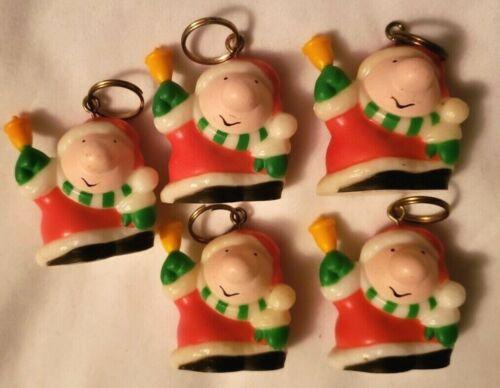Lot of 5 Vintage ZIGGY as Santa Figures Licensed UPS Ornaments Key Chains
