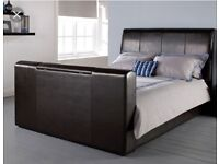 Brown Leather Kingsize Tv Bed