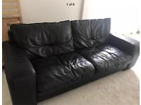 3 seater leather black sofa, chair and foot pouffe