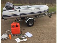 TOHATSU 15hp Outboard, Boat WAVELINE Inflatable RIB, Fully Galvanised Road Trailer - Ready to Use