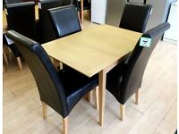 Small EXTENDING DINING SET (Wooden Table + 4 x Black Faux-Leather Chairs) + FREE LOCAL DELIVERY