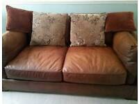 Lovely soft leather sofa and cusions