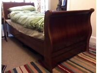 French style sleigh solid mahogany single bed (with mattress).