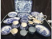 large assortment of Real Old Willow pottery design
