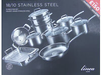 10 PIECE STAINLESS STEEL PAN SET - LINEA BY HOUSE OF FRASER