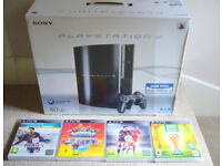SONY PLAYSTATION 3 + 2 CONTROLLERS + 4 GAMES