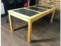 Large Wooden & Triple Slate Top Dining Table