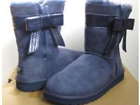 NEW-Ladies Ugg boots Josette style in blue - complete with box and bag UK size 7-7.5