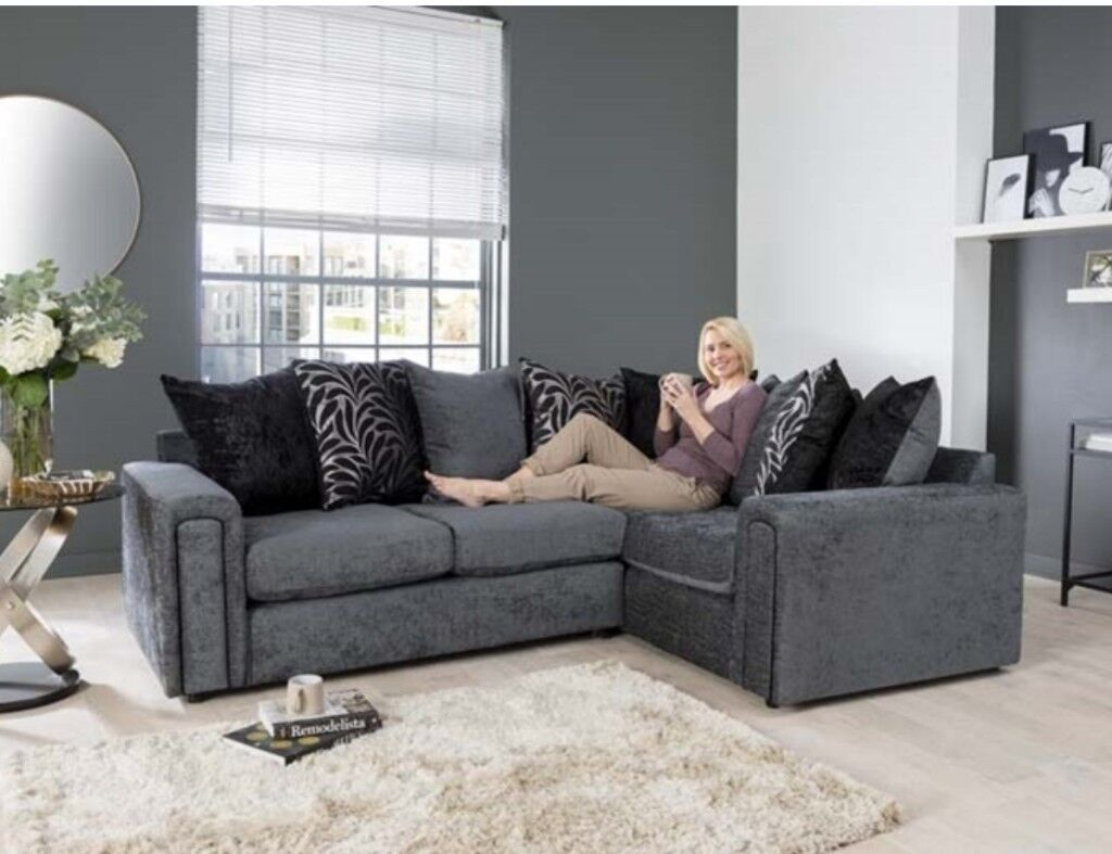 Charcoal Grey Brand New Corner Sofa Express Free Delivery