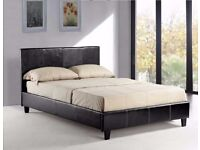 SALE ON !! DOUBLE LEATHER BED FRAME WITH ORTHOPAEDIC OR MEMORY FOAM MATTRESS BLACK - BROWN