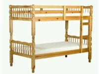 AMAZON SOLID PINE BRAND NEW SINGLE DOUBLE DECKER CHUNKY WOOD BUNK BED FRAME WITH MATTRESS OF CHOICE