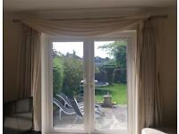 Brushed silver curtain rail with Cream/Ivory long lined curtains soft fabric
