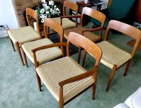 Stunning Danish Teak Niels Moller Type 75 Vintage Retro 1960s Dining Chairs x 6 Mid-century Vintage