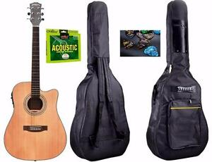 Solid Top Cedar Acoustic Electric Guitar 41 inch iMusic235 Free Gig bag String set 5 Picks