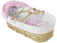 NEW & UNUSED: Clair de Lune moses basket with mattress, pink quilt, hood and padded lining