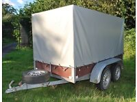 Weymar Galvanized Twin Axle Tilt Frame Covered Car Trailer 8ft x 4ft, V.G.C, Box, Can Deliver
