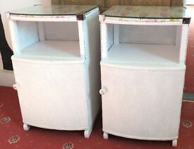 Pair of White Painted LLoyd Loom Bedside Cabinets