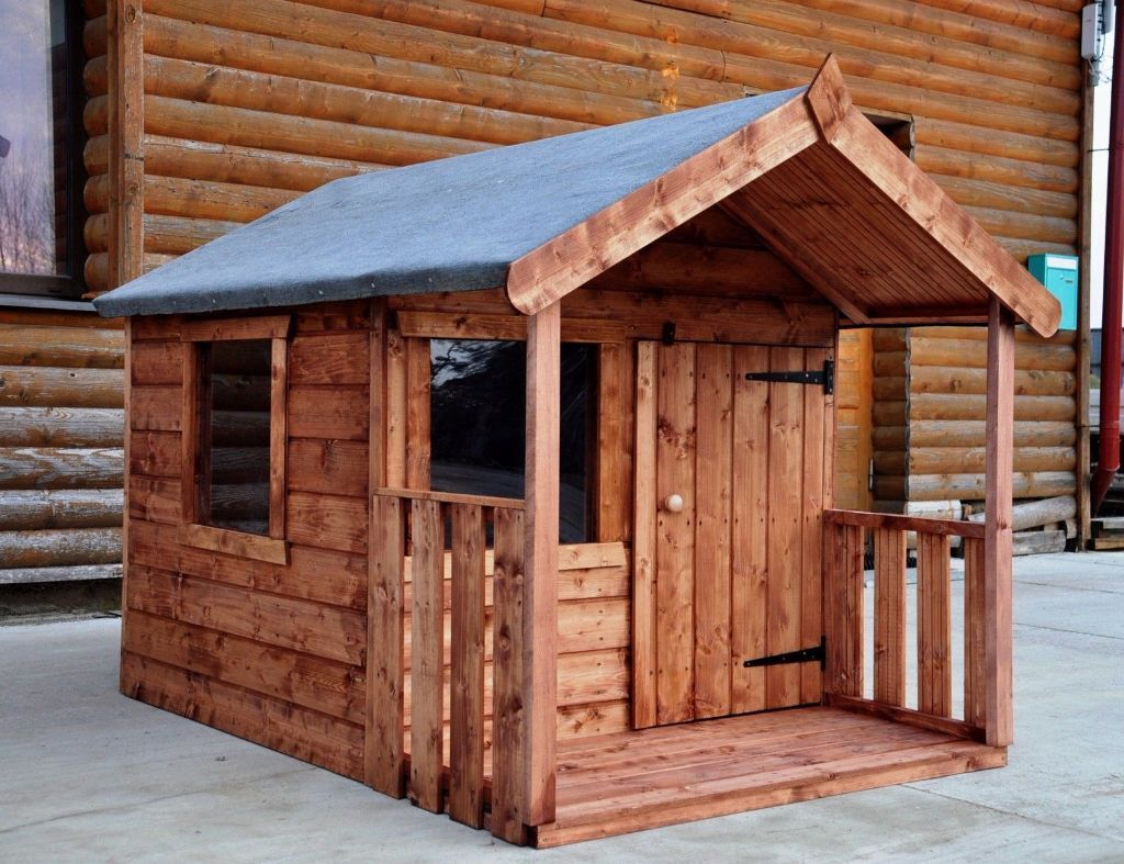 children outdoor wooden playhouse porch kids garden cottage 4x6