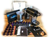 MAGIMIX NESPRESSO PIXIE COFFEE MACHINE, STEEL DOTS, C/W KRUPS S/S AEROCCINO, CAPSULES & DE-SCALER
