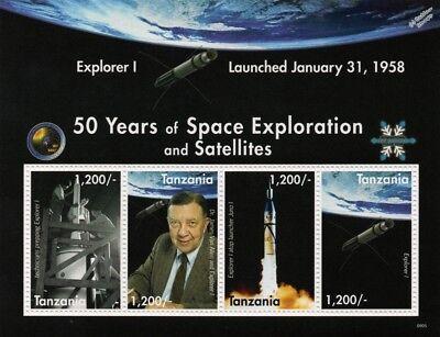 NASA EXPLORER 1 1958 Satellite Spacecraft Space Stamp Sheet (2008 Tanzania)
