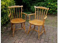 Two Solid Beech - Carver - Dining Chairs