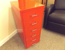 Multi Drawer (6) Red Metal Filling Cabinet (Bisley Style) with wheels - £22.50