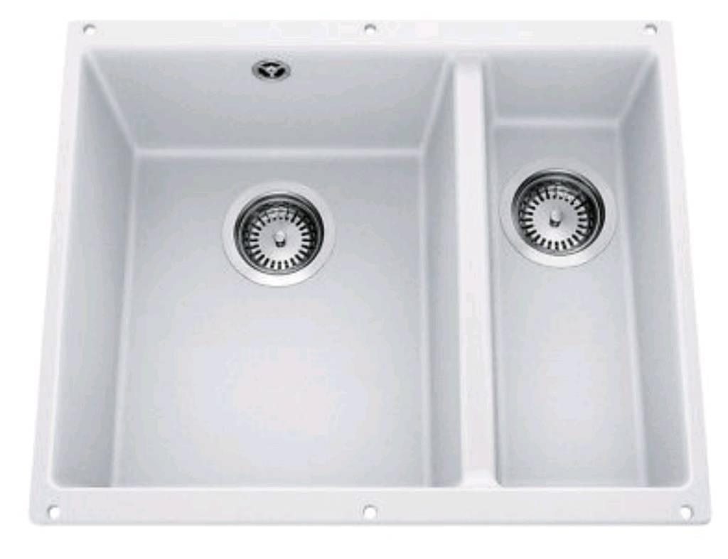 Blanco rotan 340 160 u 1 5 bowl granite undermount kitchen sink white waste